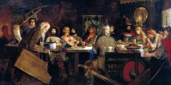 "Андрей Рябушкин ""Пир богатырей за столом князя Владимира"", 1888 г."