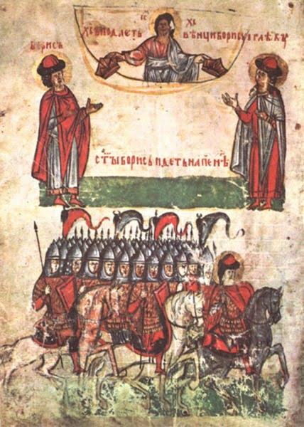 Дружина под командованием князя на миниатюре 14 века